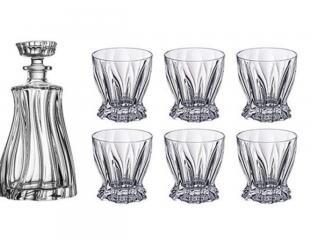 Комплект гараф+ 6 чаши за уиски Бохемия, цена 102,80лв.