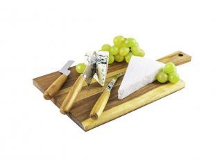 Дъска за сервиране + 3 ножа комплект, цена 17,70лв.