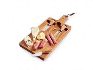 Дъска за сервиране + 3 ножа комплект, цена 19,60лв.