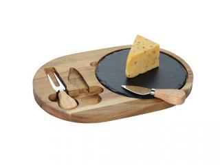 Дъска за сервиране с каменна плоча + 2 ножа сирене, цена 18,96лв.